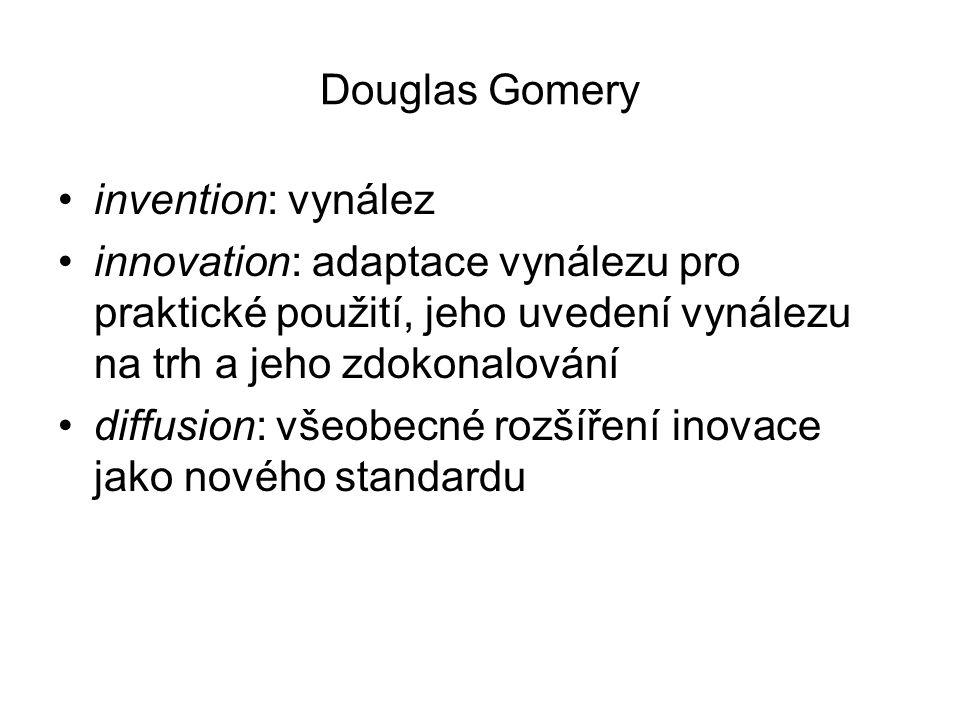 Douglas Gomery invention: vynález. innovation: adaptace vynálezu pro praktické použití, jeho uvedení vynálezu na trh a jeho zdokonalování.