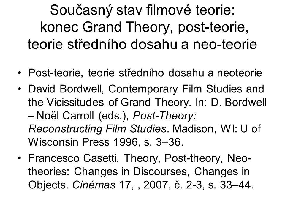 Současný stav filmové teorie: konec Grand Theory, post-teorie, teorie středního dosahu a neo-teorie