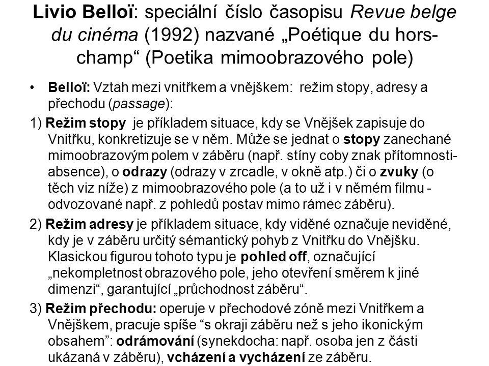 """Livio Belloï: speciální číslo časopisu Revue belge du cinéma (1992) nazvané """"Poétique du hors-champ (Poetika mimoobrazového pole)"""