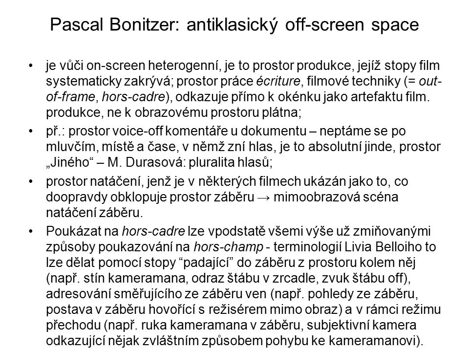 Pascal Bonitzer: antiklasický off-screen space