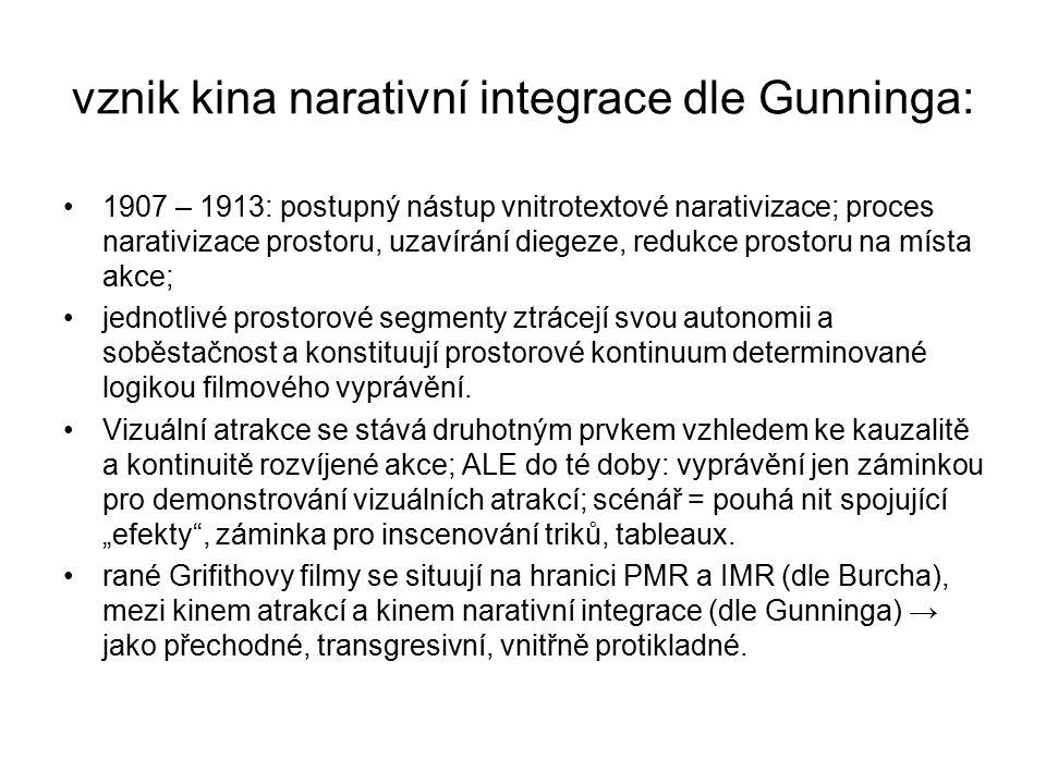 vznik kina narativní integrace dle Gunninga: