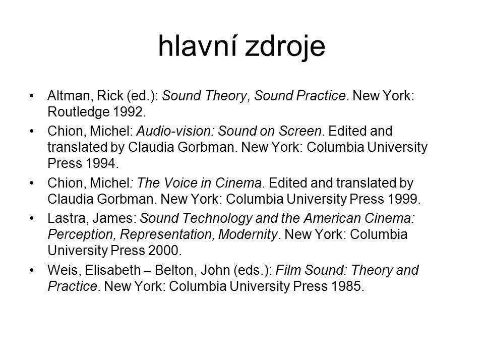 hlavní zdroje Altman, Rick (ed.): Sound Theory, Sound Practice. New York: Routledge 1992.
