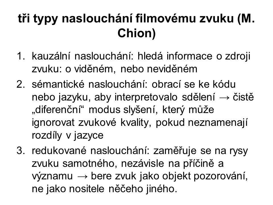 tři typy naslouchání filmovému zvuku (M. Chion)