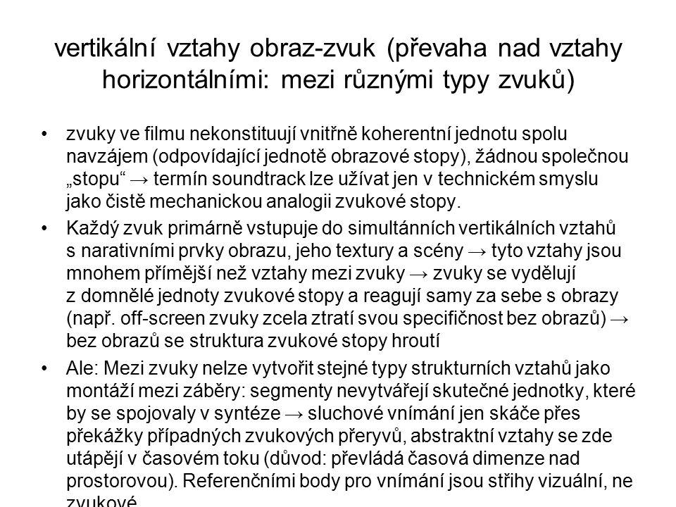 vertikální vztahy obraz-zvuk (převaha nad vztahy horizontálními: mezi různými typy zvuků)