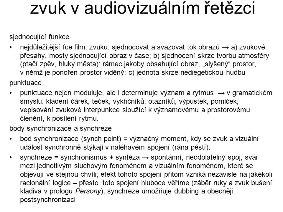 zvuk v audiovizuálním řetězci