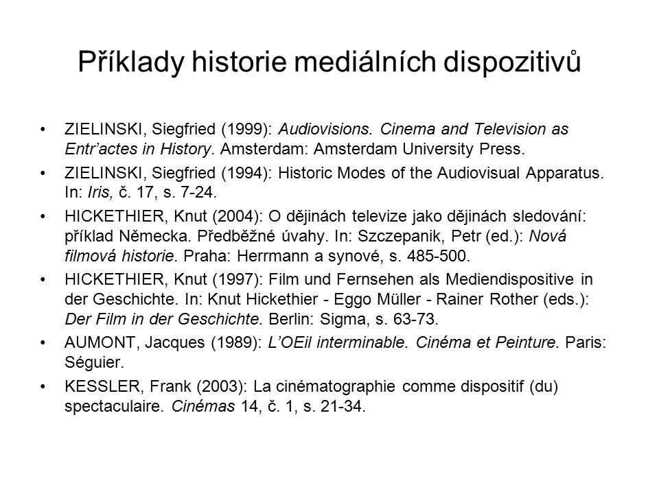 Příklady historie mediálních dispozitivů
