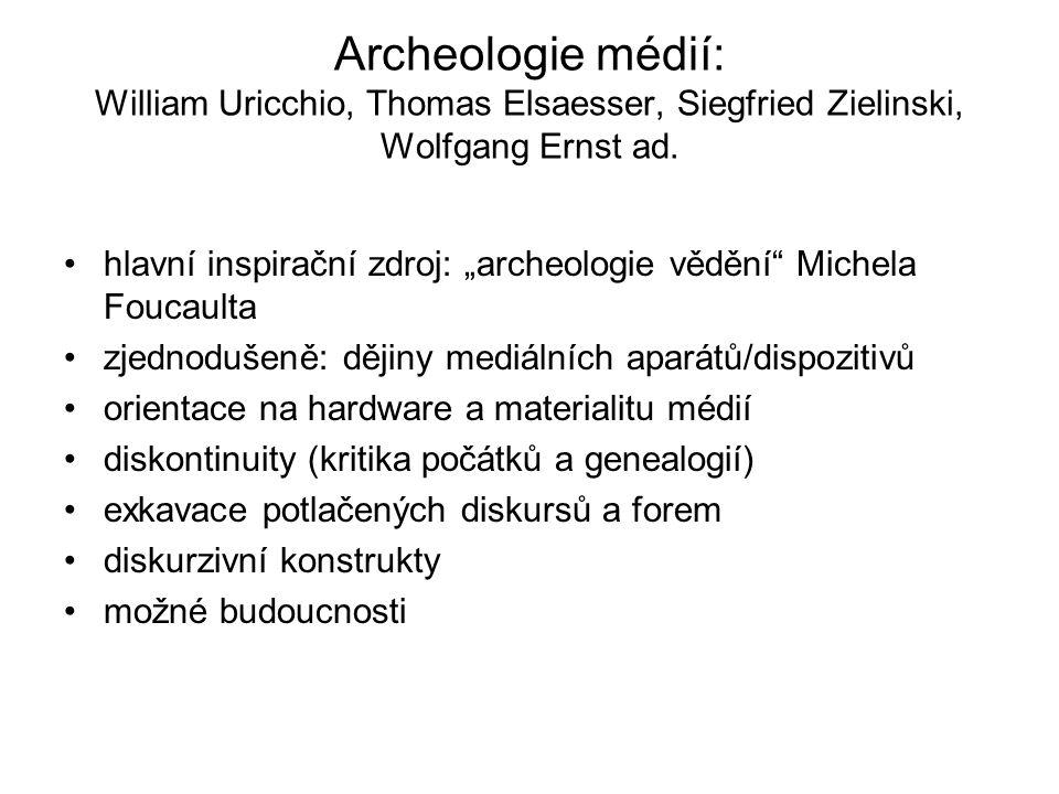 Archeologie médií: William Uricchio, Thomas Elsaesser, Siegfried Zielinski, Wolfgang Ernst ad.