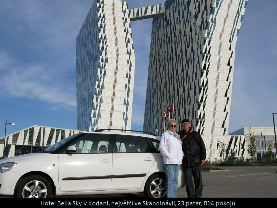 Hotel Bella Sky v Kodani, největší ve Skandinávii, 23 pater, 814 pokojů
