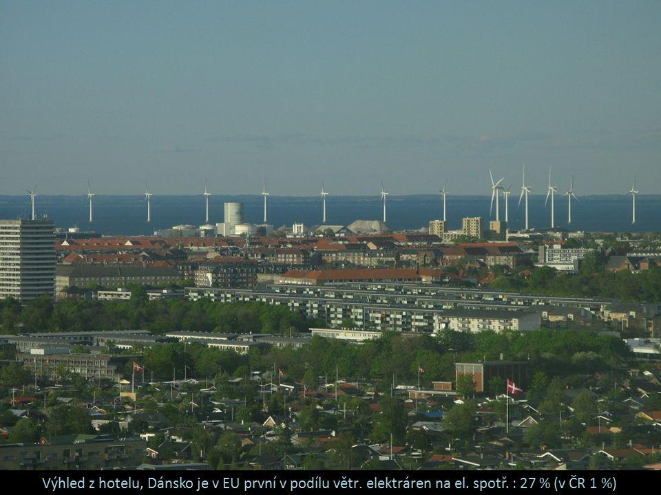 Výhled z hotelu, Dánsko je v EU první v podílu větr. elektráren na el
