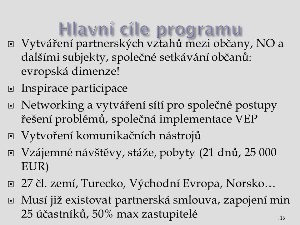 Hlavní cíle programu Vytváření partnerských vztahů mezi občany, NO a dalšími subjekty, společné setkávání občanů: evropská dimenze!