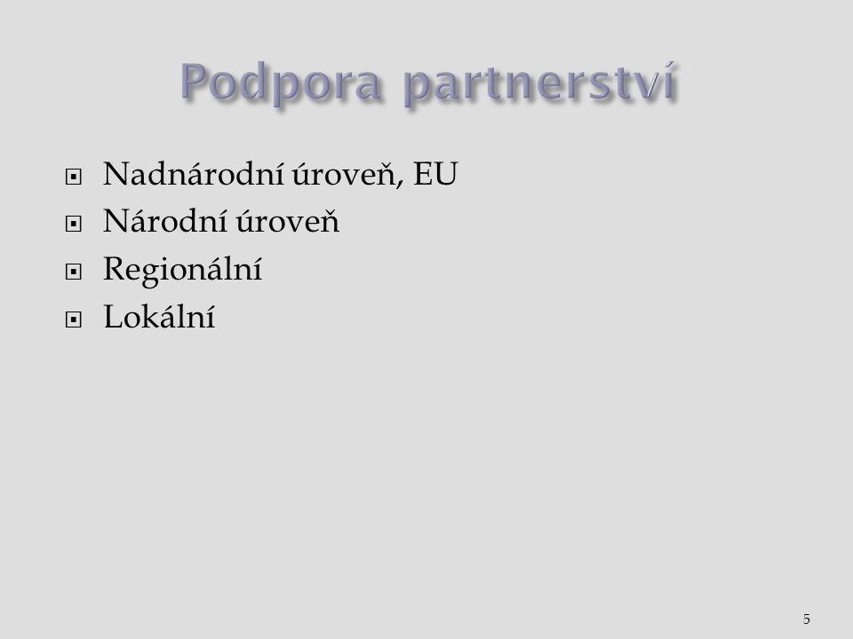 Podpora partnerství Nadnárodní úroveň, EU Národní úroveň Regionální