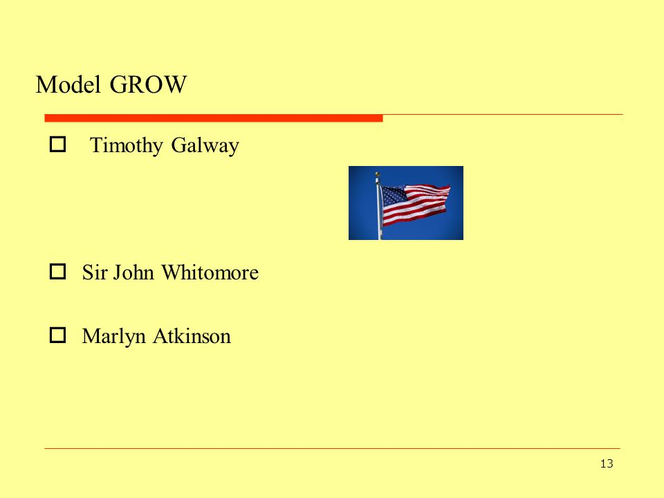 Model GROW Timothy Galway Sir John Whitomore Marlyn Atkinson