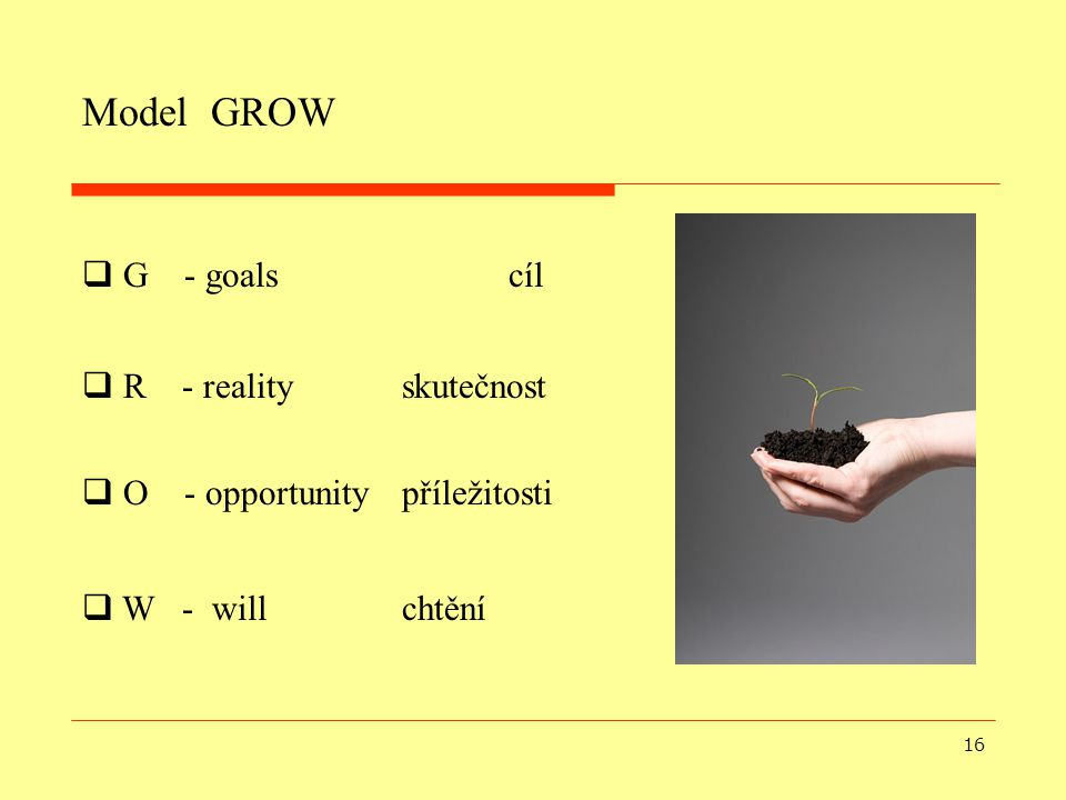 Model GROW G - goals cíl R - reality skutečnost