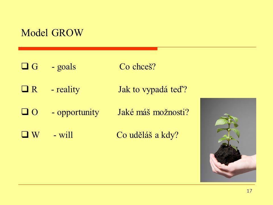 Model GROW G - goals Co chceš R - reality Jak to vypadá teď