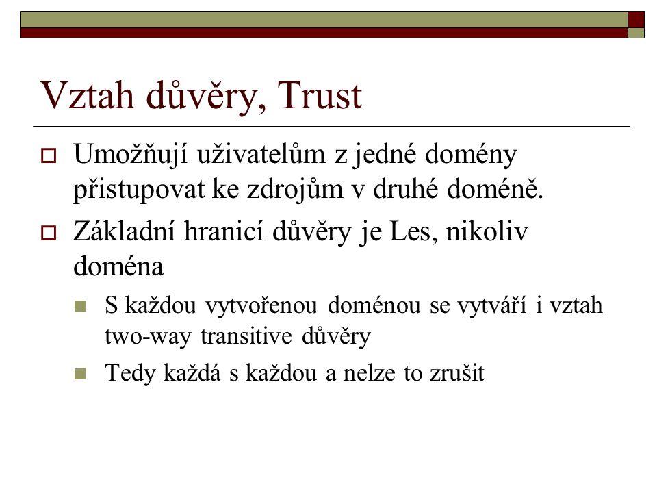 Vztah důvěry, Trust Umožňují uživatelům z jedné domény přistupovat ke zdrojům v druhé doméně. Základní hranicí důvěry je Les, nikoliv doména.