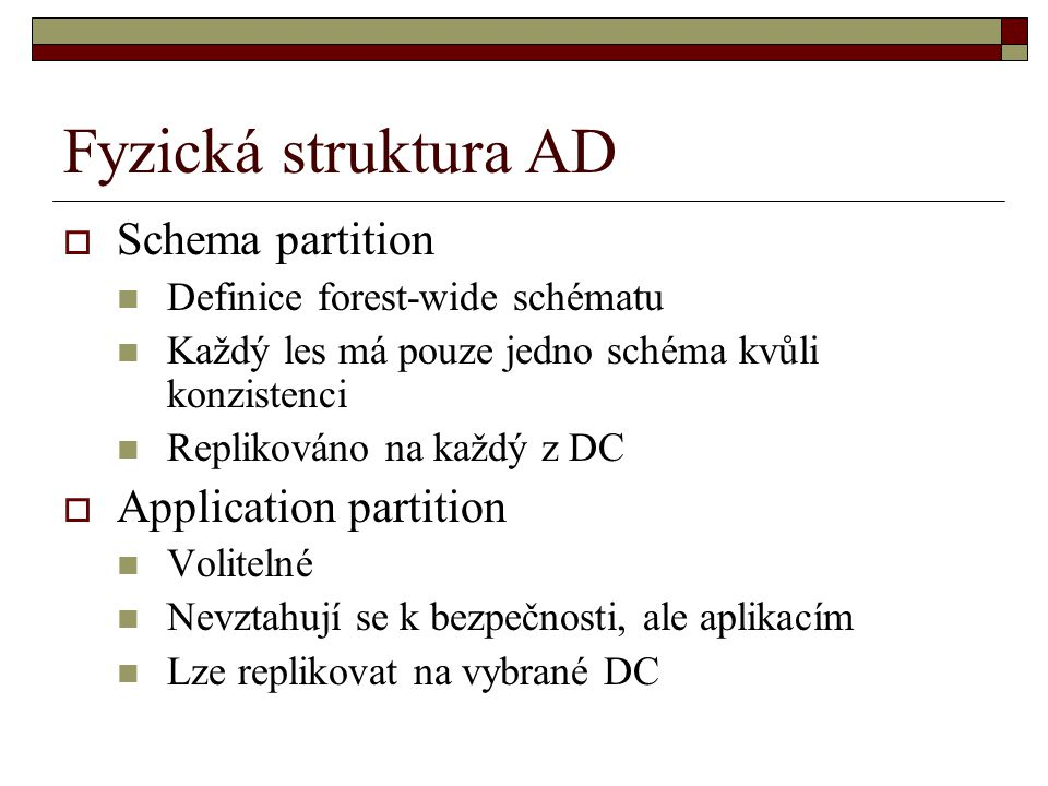 Fyzická struktura AD Schema partition Application partition