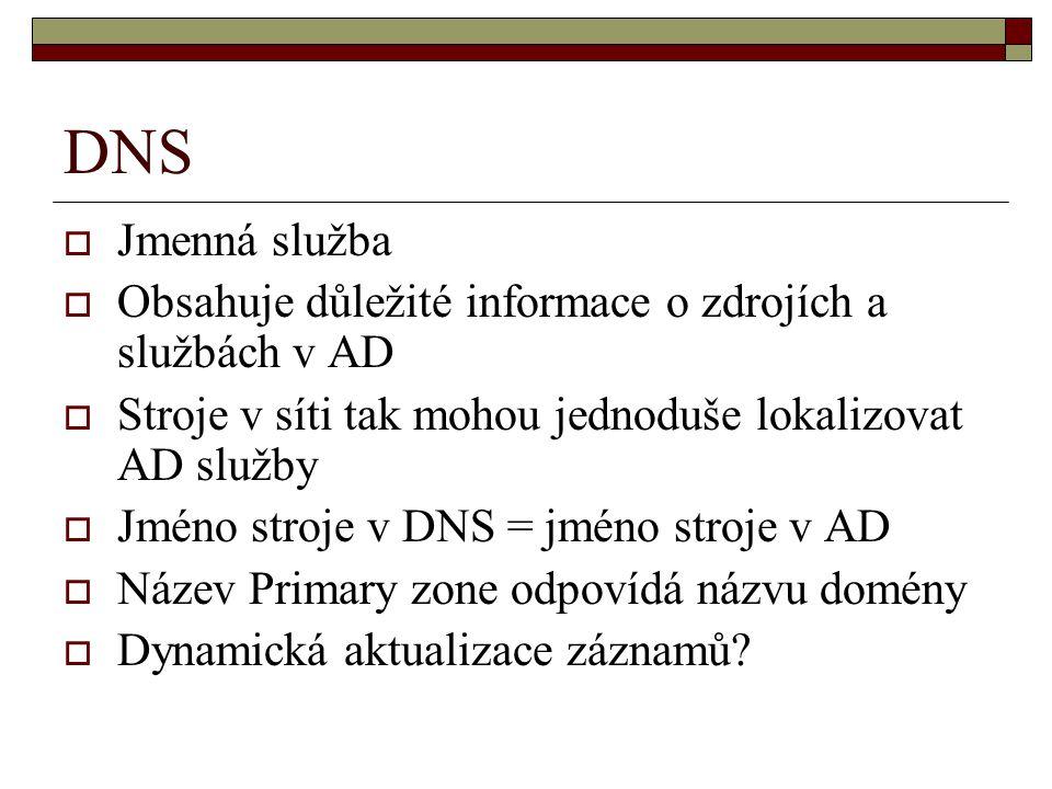 DNS Jmenná služba. Obsahuje důležité informace o zdrojích a službách v AD. Stroje v síti tak mohou jednoduše lokalizovat AD služby.