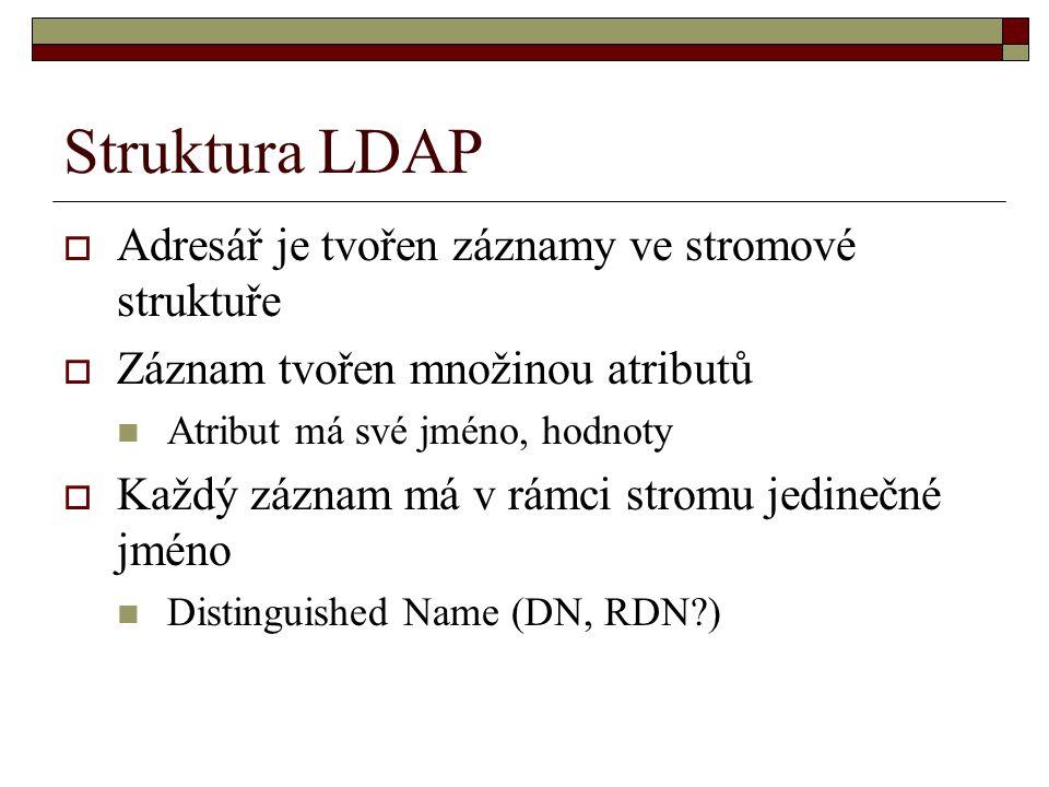 Struktura LDAP Adresář je tvořen záznamy ve stromové struktuře