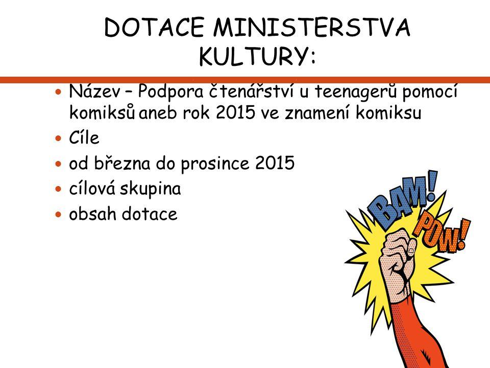 DOTACE MINISTERSTVA KULTURY: