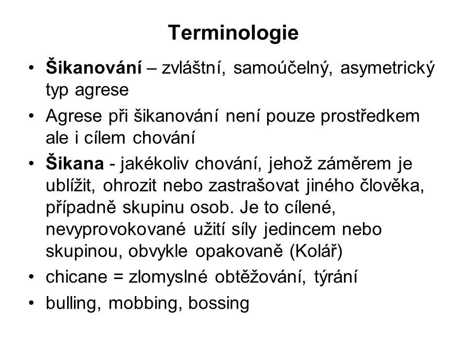 Terminologie Šikanování – zvláštní, samoúčelný, asymetrický typ agrese