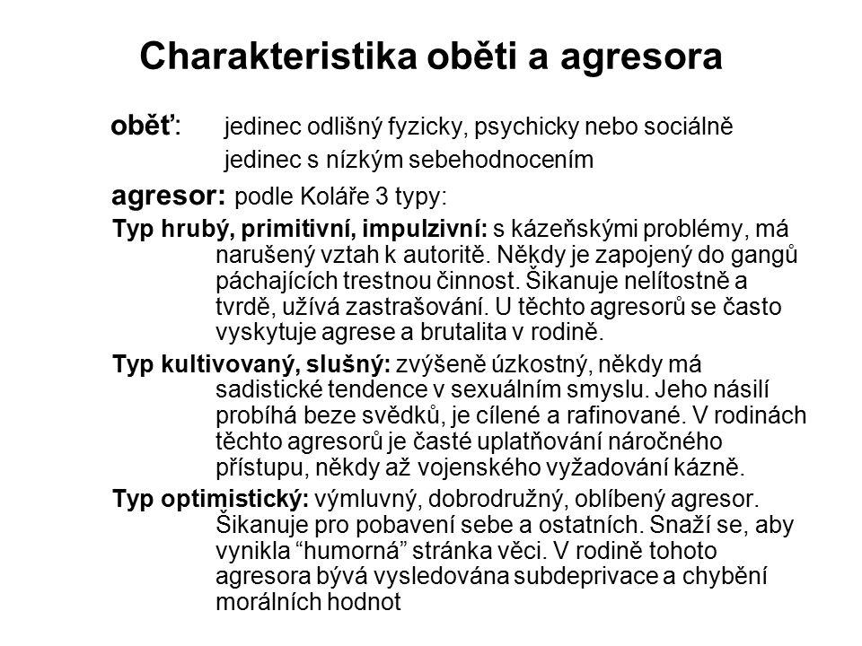 Charakteristika oběti a agresora