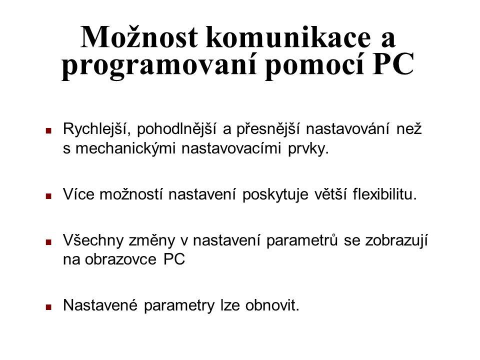 Možnost komunikace a programovaní pomocí PC