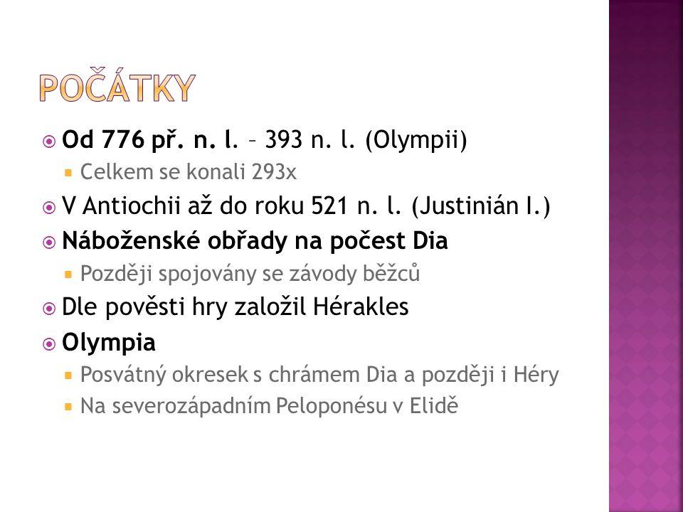 Počátky Od 776 př. n. l. – 393 n. l. (Olympii)