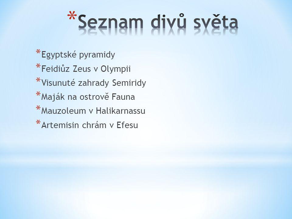 Seznam divů světa Egyptské pyramidy Feidiůz Zeus v Olympii