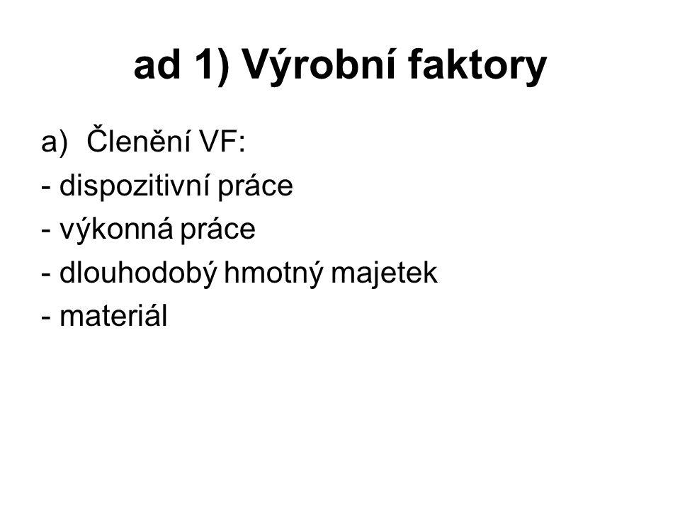 ad 1) Výrobní faktory Členění VF: - dispozitivní práce - výkonná práce