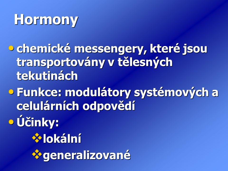 Hormony chemické messengery, které jsou transportovány v tělesných tekutinách. Funkce: modulátory systémových a celulárních odpovědí.