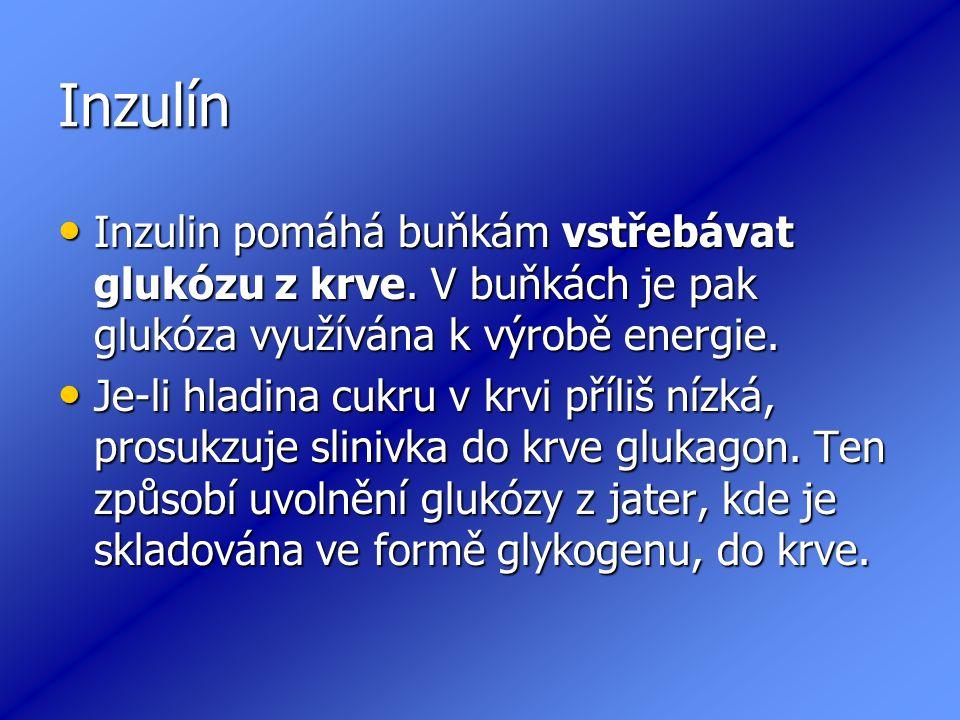 Inzulín Inzulin pomáhá buňkám vstřebávat glukózu z krve. V buňkách je pak glukóza využívána k výrobě energie.