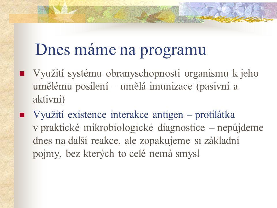 Dnes máme na programu Využití systému obranyschopnosti organismu k jeho umělému posílení – umělá imunizace (pasivní a aktivní)