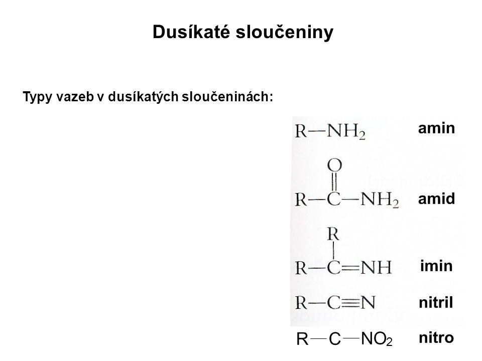 Dusíkaté sloučeniny Typy vazeb v dusíkatých sloučeninách: 2