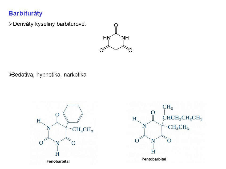 Barbituráty Deriváty kyseliny barbiturové: