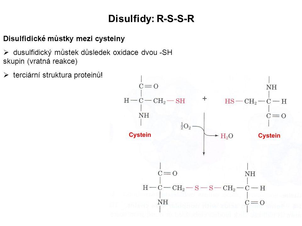 Disulfidy: R-S-S-R Disulfidické můstky mezi cysteiny