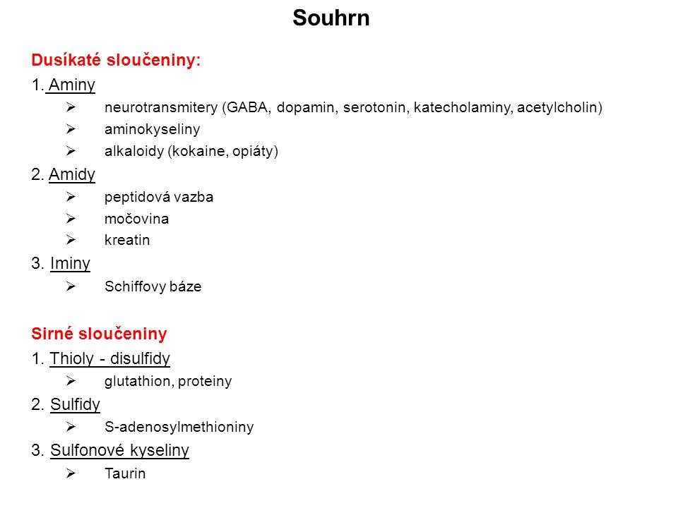 Souhrn Dusíkaté sloučeniny: 1. Aminy 2. Amidy 3. Iminy