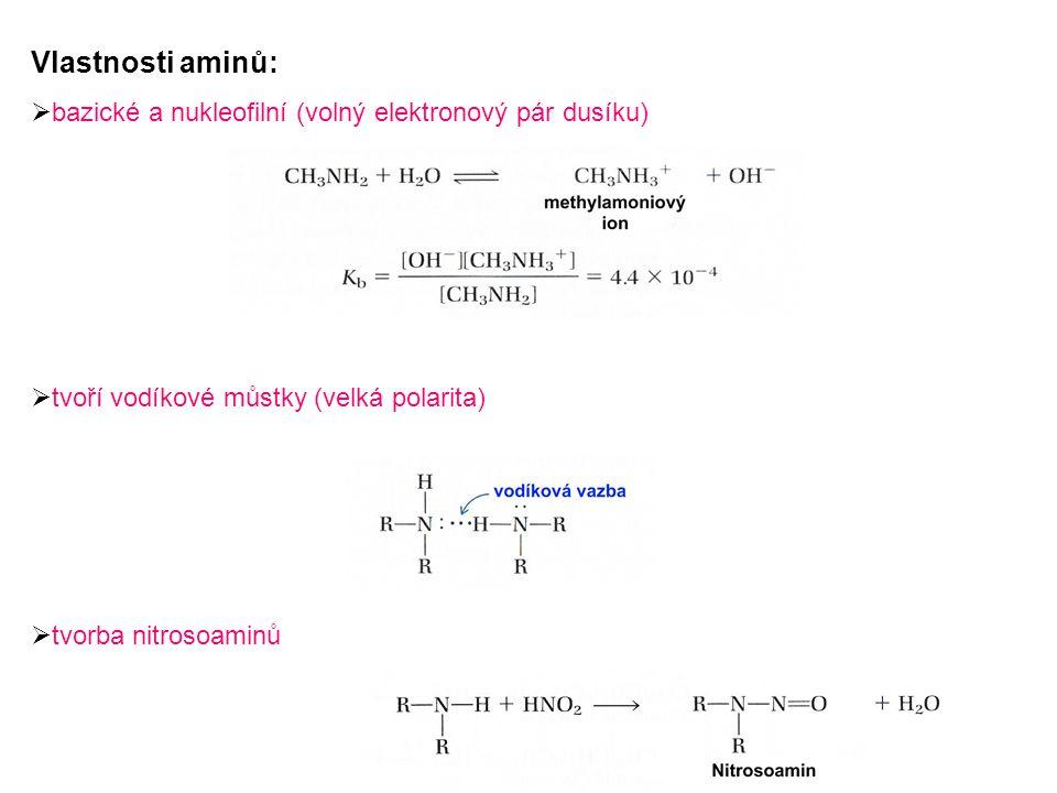 Vlastnosti aminů: bazické a nukleofilní (volný elektronový pár dusíku)