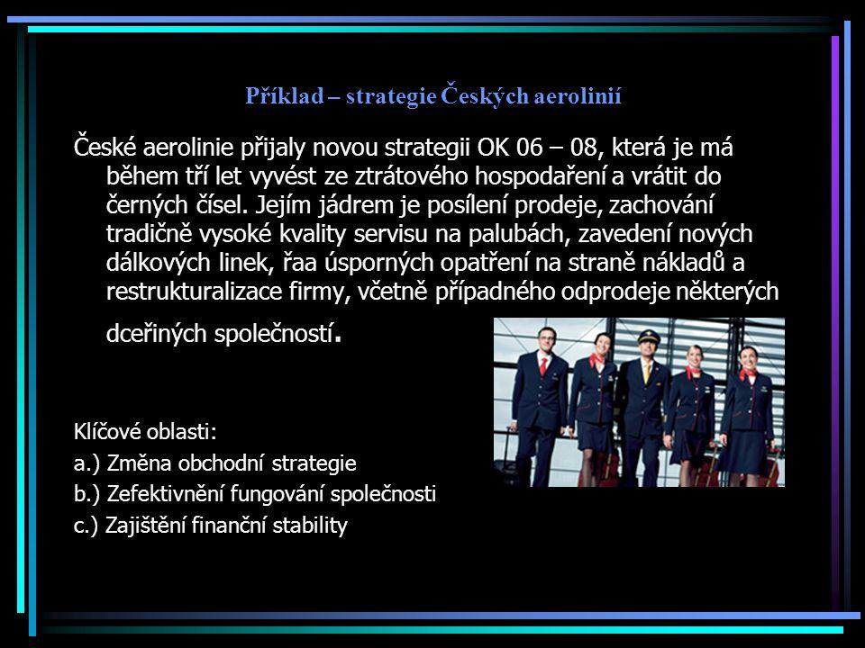 Příklad – strategie Českých aerolinií