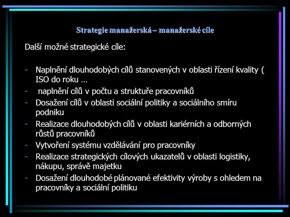 Strategie manažerská – manažerské cíle