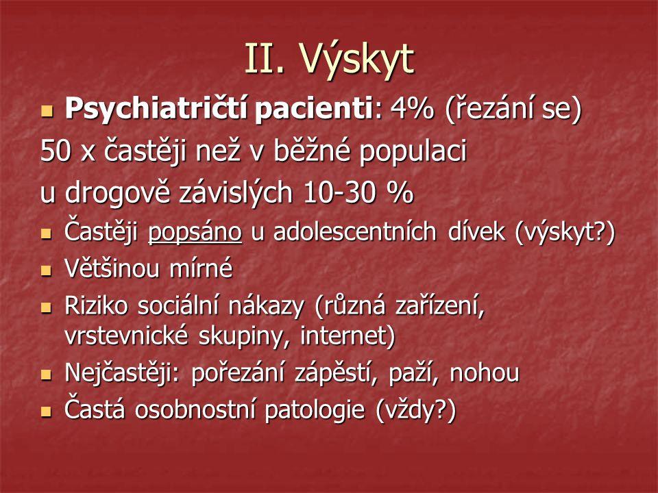 II. Výskyt Psychiatričtí pacienti: 4% (řezání se)