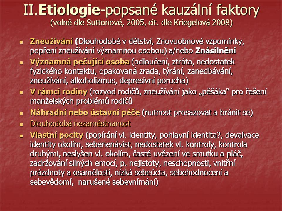 II. Etiologie-popsané kauzální faktory (volně dle Suttonové, 2005, cit