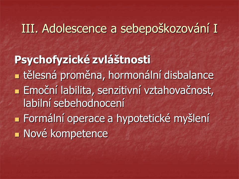 III. Adolescence a sebepoškozování I