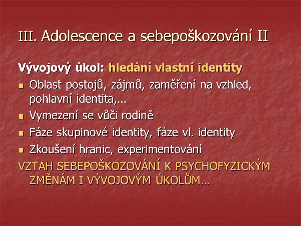 III. Adolescence a sebepoškozování II
