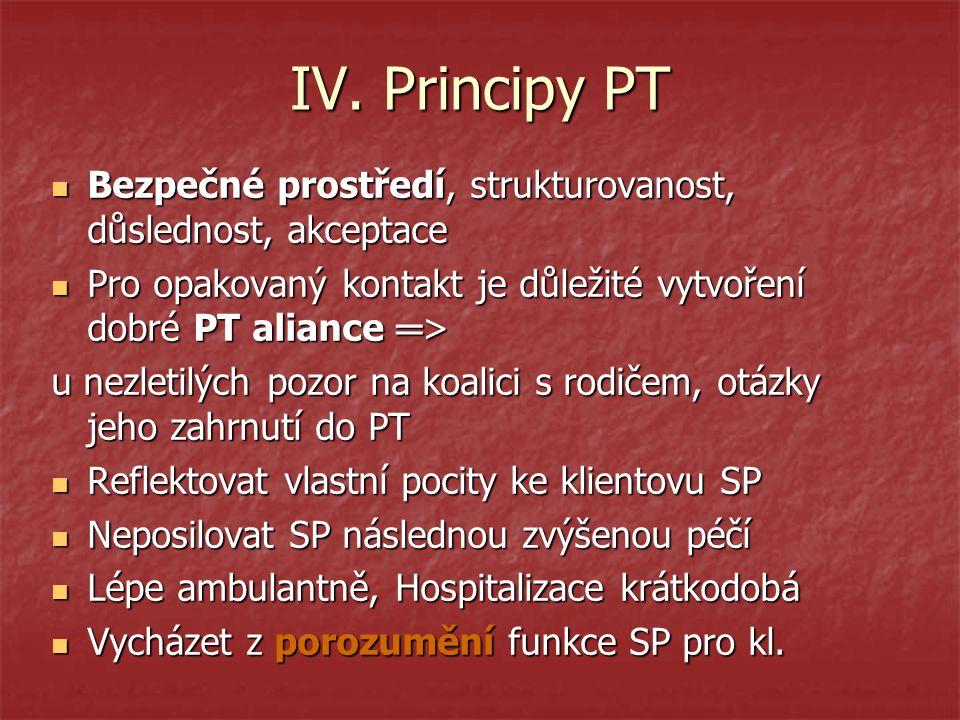 IV. Principy PT Bezpečné prostředí, strukturovanost, důslednost, akceptace. Pro opakovaný kontakt je důležité vytvoření dobré PT aliance ═>