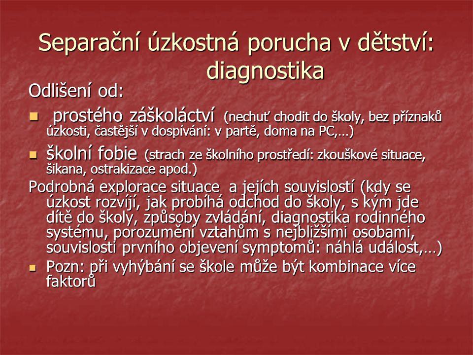 Separační úzkostná porucha v dětství: diagnostika