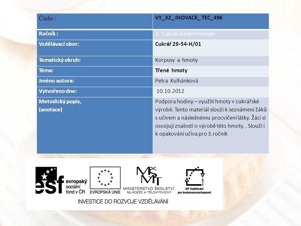 Číslo : VY_32_ INOVACE_ TEC_496 Ročník : 2. Cukrářská technologie
