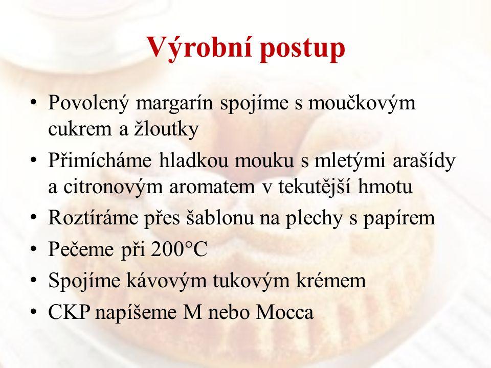 Výrobní postup Povolený margarín spojíme s moučkovým cukrem a žloutky