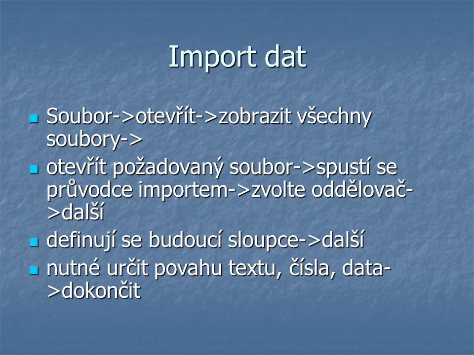 Import dat Soubor->otevřít->zobrazit všechny soubory->