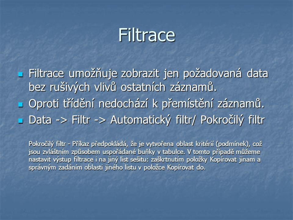 Filtrace Filtrace umožňuje zobrazit jen požadovaná data bez rušivých vlivů ostatních záznamů. Oproti třídění nedochází k přemístění záznamů.