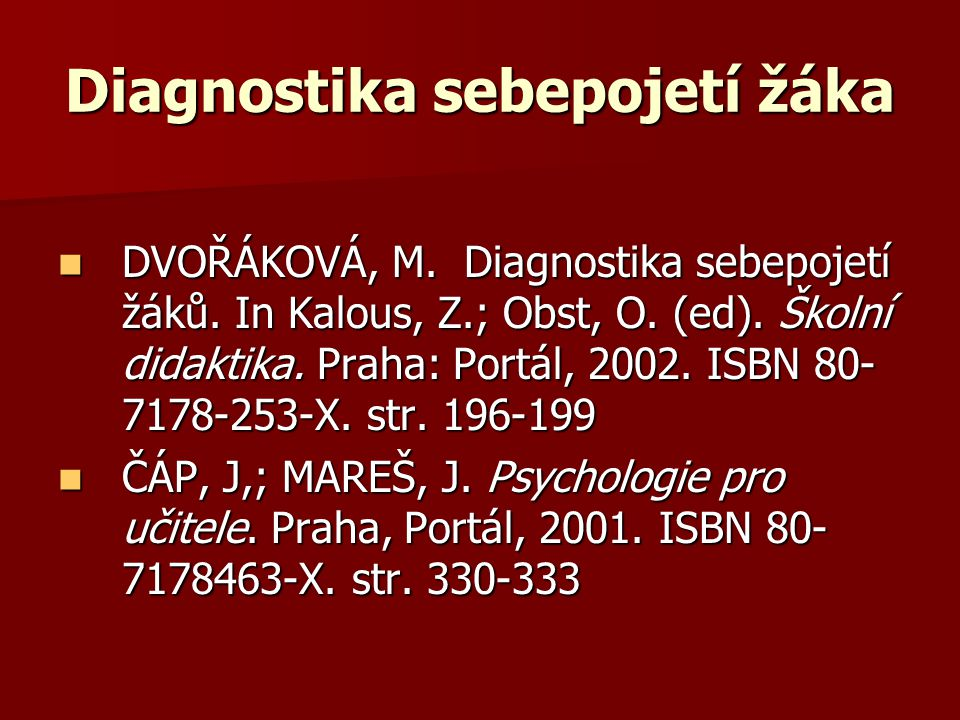 Diagnostika sebepojetí žáka